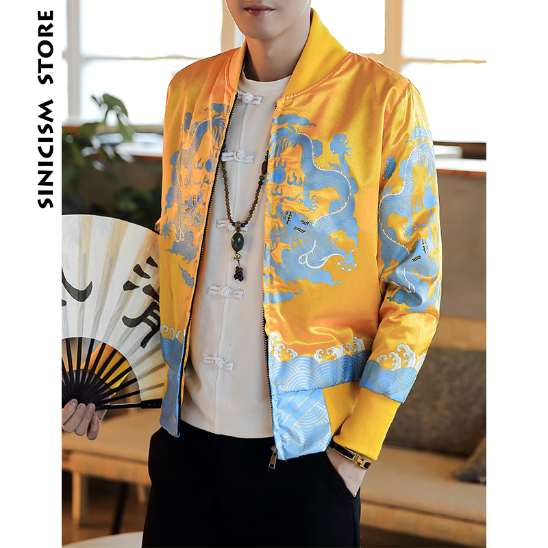 Sinicism Store Bomber Jackets Man 2018 Mens Streetwear Dragon Print Jackets And Coats Male Chinese Style Fahions Windbreaker