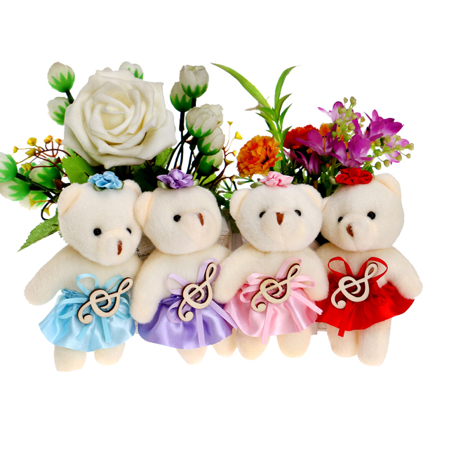 Music Notes Accessory Flower Bouquets Teddy Plush Toys Doll Red/blue ...