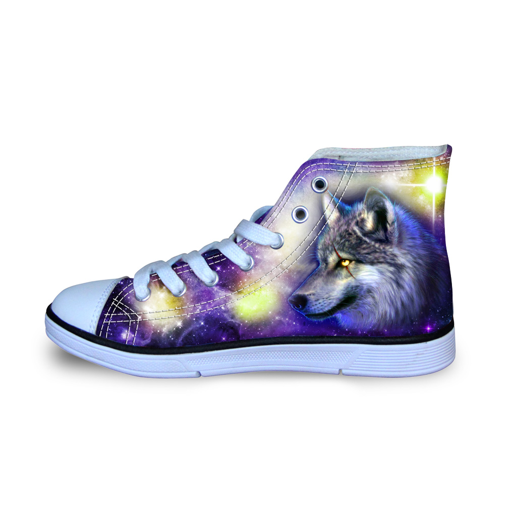 Blue Galaxy Wolf Animals Canvas Shoes for Man Casual Autumn High Top Sneakers School Comfort Loafers for Teen Boys Size 29-34