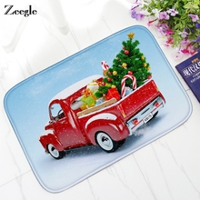 Zeegle Christmas Cartoon Flannel Doormat Non slip Floor Mat Tapete for Home Decor Kitchen Water Proof