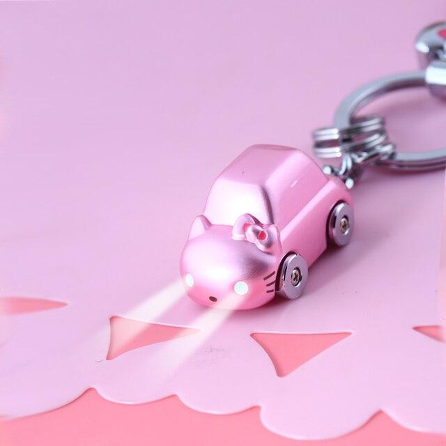 KT- New 2017 Brand Lovey LED Kitty Cat Car Key chain Keychain Trinket Car-styling Key Ring Keyholder Novelty Items Birthday Gift