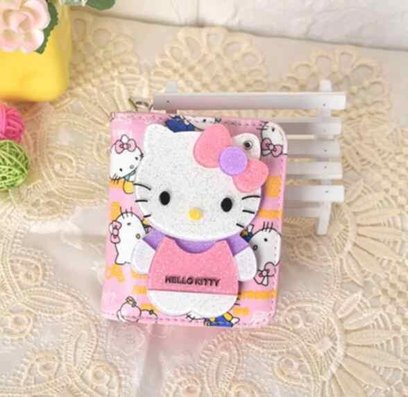Preço em dólar Moda Magia Bonito Espelho de bolso Curto pequeno mini carteira Olá Kitty mulheres couro carteira portefeuille femme 40