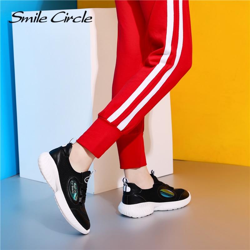 Transpirables Zapatillas Casuales Moda Para Mujeres Primavera De Microfibra Deporte Zapatos Las Sonrisa Encaje 2019 Negro blanco Tejer Plana Círculo Mujer wq4OAp