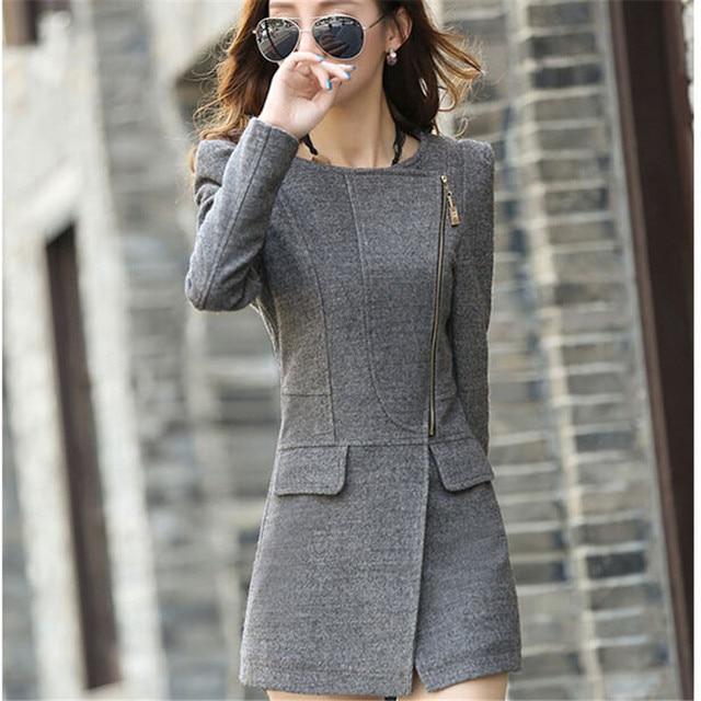 Hot 2016 Autumn Winter Women Woolen Coat Female Warm Wool Long Sleeve Overcoat Jacket Fashion A048