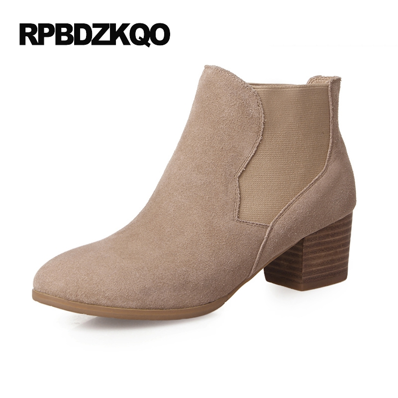 Genuine Leather Fur 2017 Autumn Shoes Chelsea Winter Fall High Heel Women Ankle Boots 2016 Round Toe Booties Chunky Elegant new arrival superstar genuine leather chelsea boots women round toe solid thick heel runway model nude zipper mid calf boots l63