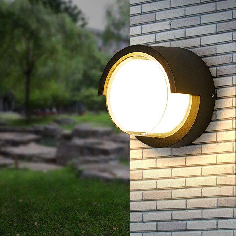 Thrisdar 12W Round Outdoor Garden Porch Wall Lamp Villa Hotel Balcony Wall Light Aisle Corridor Front Door Wall Light