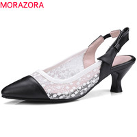 MORAZORA 2018 new style pump women shoes pointed toe summer shoes elegant hollow out party wedding shoes high heels shoes woman