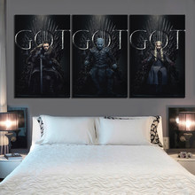 3 Piece Game of Thrones Movie Poster Paintings Night's King Jon Snow Daenerys Targaryen Pictures HD Canvas Paintings Wall Art(China)