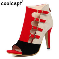 Coolcept Tamaño 33-46 Mujeres Sexy Bombas Pío de la Hebilla de Color Mezclado dedo del pie de Spike Zapatos de Tacón Hig Partido Club de Las Mujeres de Las Señoras de La Boda calzado