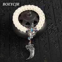 Thailand 100 Natural Snake Bone Bangles Bracelets Fashion Jewelry Tibetan Silver Charm Bracelet For Women Or