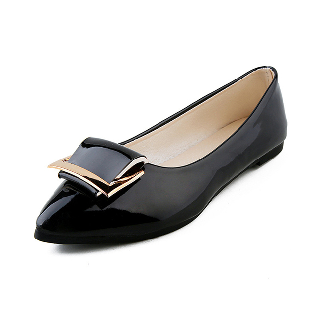 Women's Colorful Pointy Toe Ballet PU Leather Slip On Flats Shoes