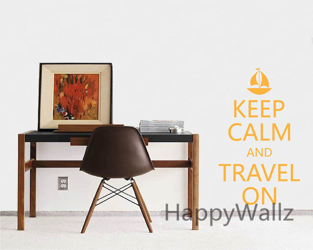 Motivational Keep Calm Travel On Quote Wall Sticker DIY Keep Calm Wall Decal Vinyl Lettering Wall Sticker Hot Sale Free Shipping