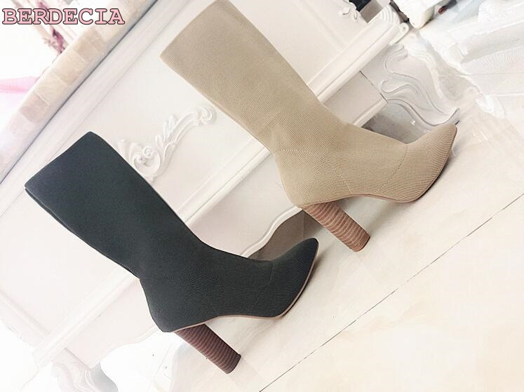 wholesale price knitted Stretch Fabric army green boots pointed toe mid calf thick high heel shoes Ladies elegant fit shoes