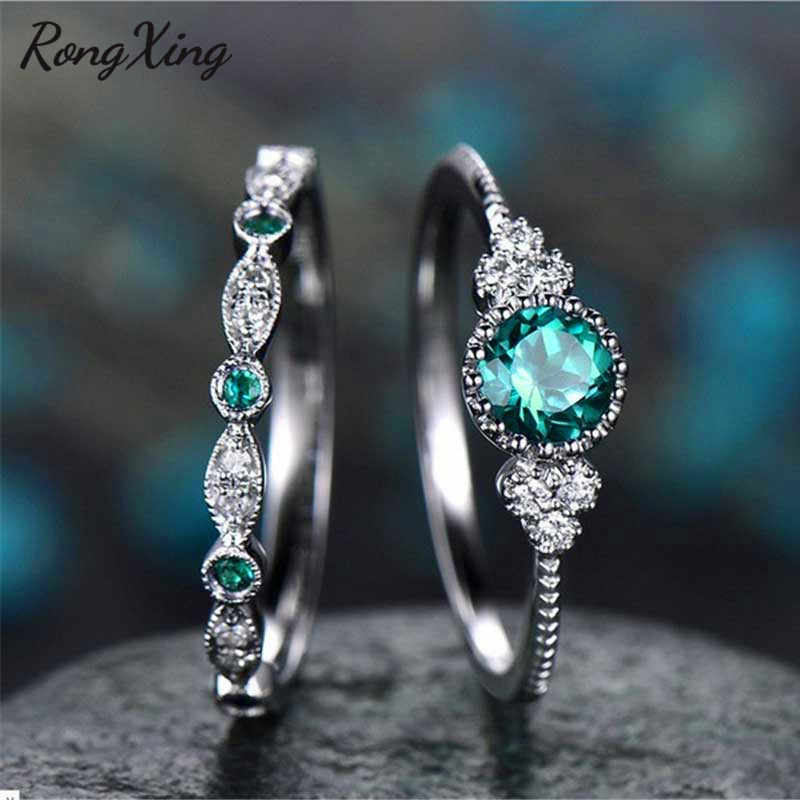 RongXing Green/Blue Round Zircon Engagement Ring Set for Women 925 Sterling Silver Filled Birthstone Wedding Rings Double Finger