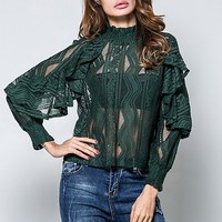 Womens Lace Floral Sheer Blouse Long Sleeve High Ruffles Neck Collared Hollow Out See Though Casual