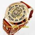 Новые мужские часы Parnis с сапфирами 43 мм из розового золота с желтыми цифрами