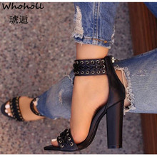 Whoholl 2019 Fashion Women Sandals Summer New Hot Female Fish Mouth Exposed Toe High-Heeled Romanesque Ladies Shoes