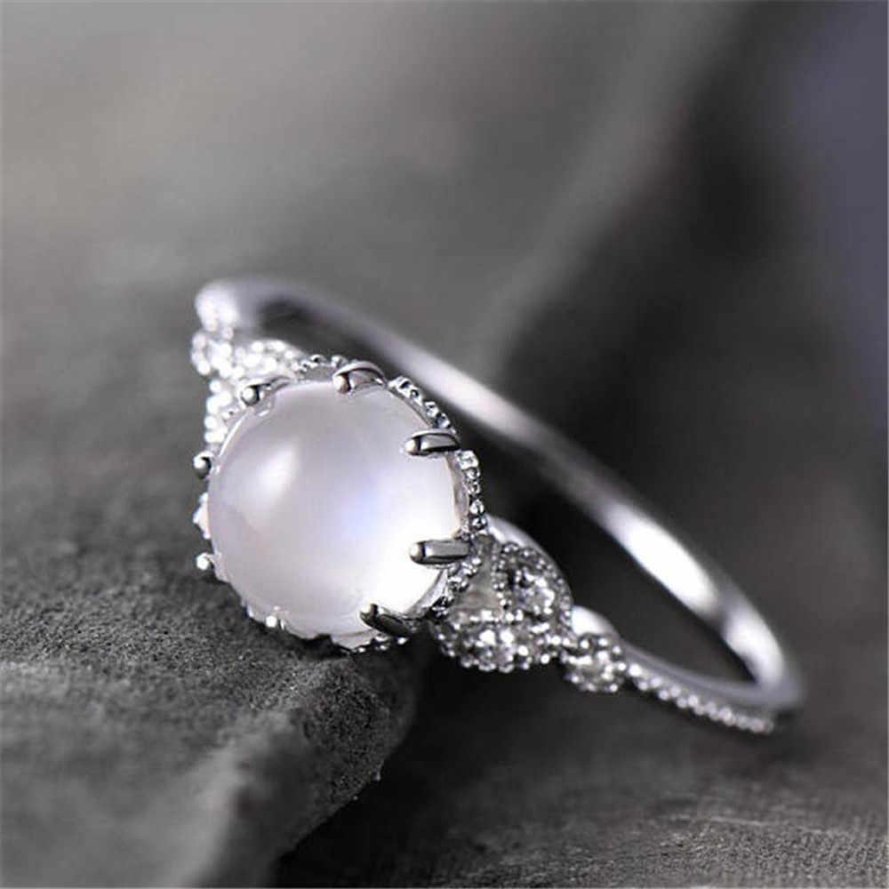 אלגנטי טבעות לנשים תכשיטי Anillos מונסטון משובץ טבעת אופנתי אירוסין טבעות נהדר תכשיטי קישוטי Aneis