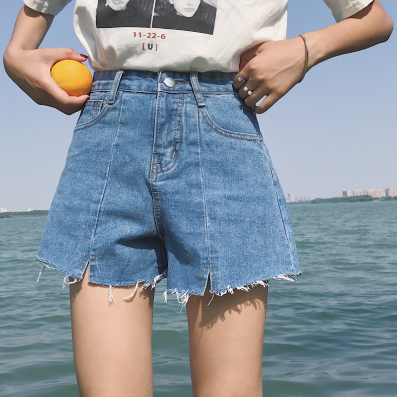 2018 spring and summer new wild jeans shorts high waist a word loose thin wide leg hot pants