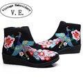 Старинные Вышивки Сапоги Женщины павлин вышитые обувь молния осень Зима новый резиновый мягкий холст ткань 34-40