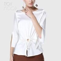 Офисные женские топы из натурального шелка и блузки спереди с рюшами белого и серого цвета летние тонкие шелковые рубашки Топы camisa blusa feminina