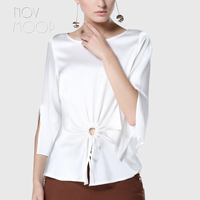 Office ladies natural silk tops and blouses front ruched white grey summer slim silk shirt tops camisa blusa feminina LT1982