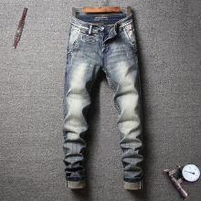 Fashion Streetwear Men Jeans Slim Fit Retro Wash Elastic Paint Designer Printed Jeans Italian Vintage Style Hip Hop Jeans Men fashion streetwear men jeans retro wash slim fit paint designer ripped jeans men printed pants destroyed hip hop jeans