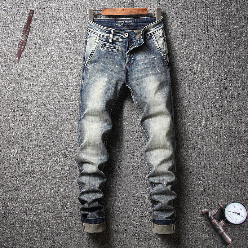 Fashion Streetwear Men   Jeans   Slim Fit Retro Wash Elastic Paint Designer Printed   Jeans   Italian Vintage Style Hip Hop   Jeans   Men