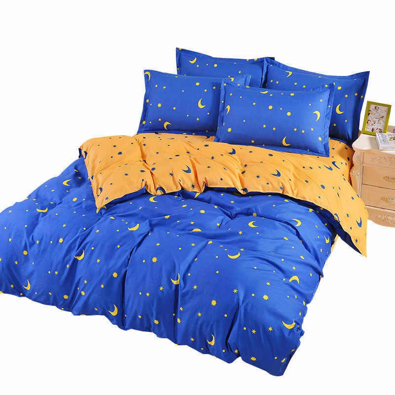 Moon Stars Print Duvet Cover Sets For Single Double Bed Adults Twin Full Queen Size 100% Polyester Bedding Sets XF640-7