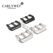 CARLYWET 18 20 22 24 26mm Top High Quality Silver Black Screw Buckle Stainless Steel for Brand Watch Band Strap For Luminor все цены