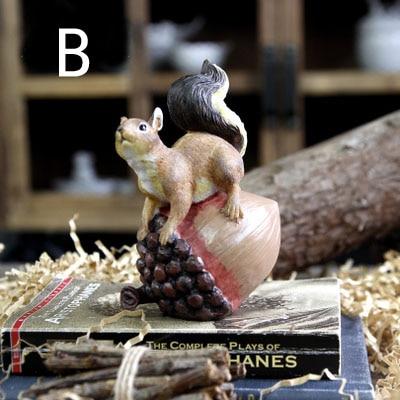 Ameriška podeželska smola veverica z oreščki Umetne figurice - Dekor za dom - Fotografija 4