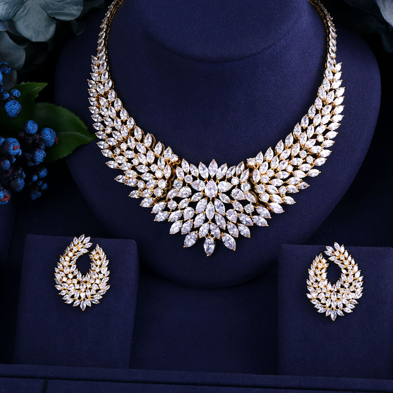 Newest Gold Color Design Wedding Necklace Set Aaa Cubic Zircon