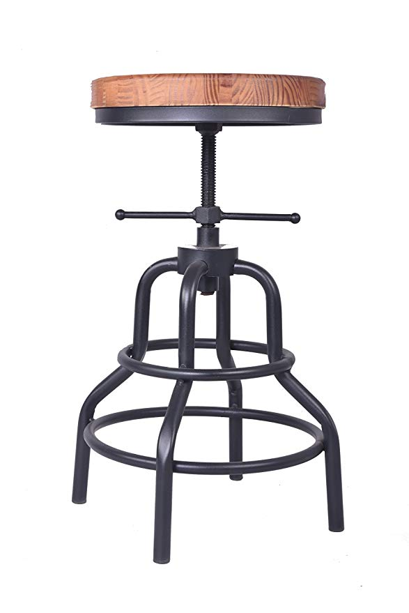 Industrial Furniture Bar Stool Seat Swiveling Wood Seat,Metal Frame Footrest Function,Height Adjustable Bar Chair