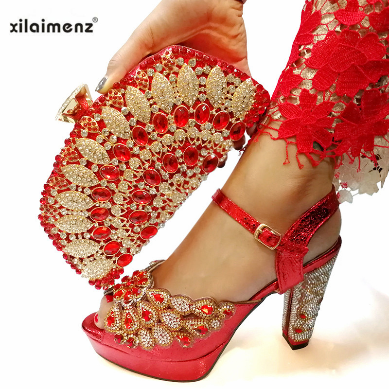 High Quality Red Color Italian Designer Shoes And Bag Set To Match African Party Shoes With