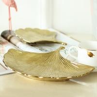 Nordic Style Storage Tray Ceramic Ginkgo Biloba Swing Plate Decoration Home Coffee Table Display Plate Jewelry Storage Organizer