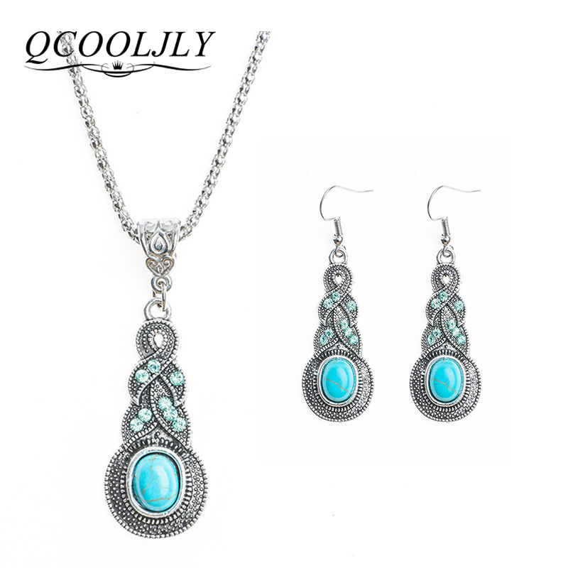 QCOOLJLY Women Jewellery TibetanSilver-Color CZ Crystal Chain Pendant Necklace Earrings Set Round Jewelry sets