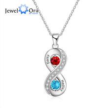 Personalized 925 Sterling Silver Infinity Necklaces & Pendants Custom 2 Names Engraved Necklace Promise Gift (JewelOra NE103199) personalized necklaces 925 sterling silver engraved necklaces diy personalized jewelry family children mother pendants necklace