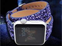 38mm 42mm Christmas Luxurious Shiny Bracelet Pin Buckle Glitter Double Tour Long Leather For Apple Iwatch
