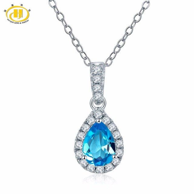 Fine Jewelry Womens Blue Blue Topaz Sterling Silver Pendant Necklace