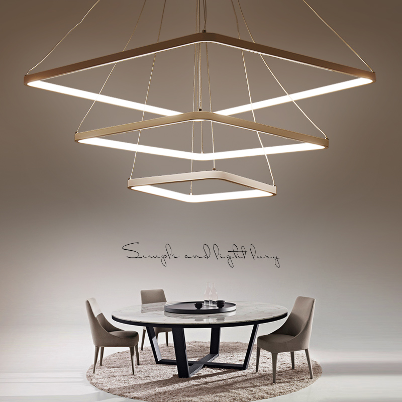 Square Ring circles modern led pendant lights for dining living room acrylic cerchio anello lampadario hanging