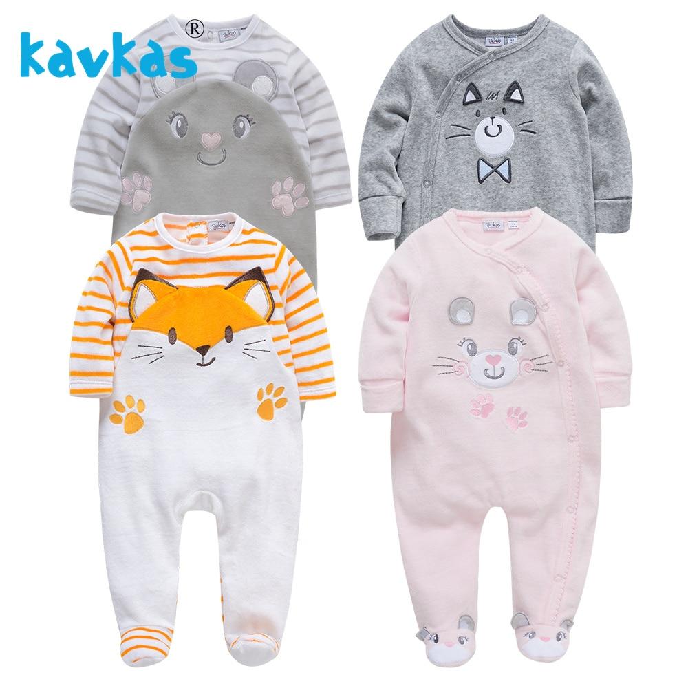 Kavkas Inverno Quente Romper Do Bebê de Manga Comprida Macacão de Pelúcia Bebê Recém-nascido Roupa Da Menina Roupa De Bebes