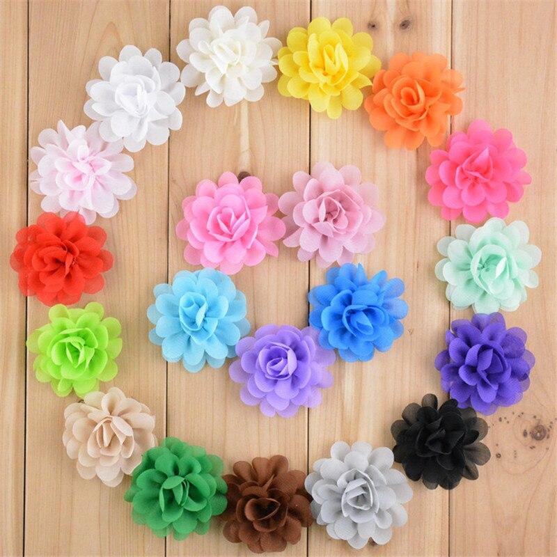 120pcs/lot 20 Color U Pick 2 Inch Petit Chiffon Fabric Puff Flowers DIY Craft For woman Children Accessories Wedding Ornament