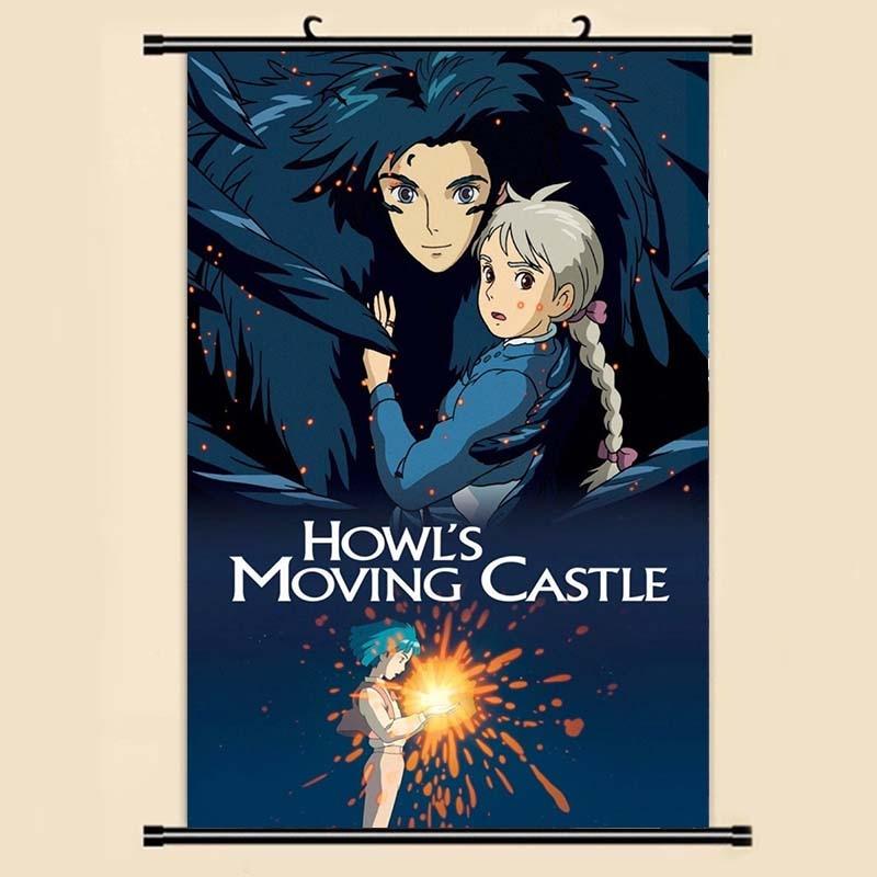 Anime Manga Howl S Moving Kastil Dinding Scroll Painting 40x60