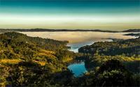 טבע נוזל ערפל מים נופים אוסטרליה אגמים יערות גבעות בוקר 4 גדלים הדפסת פוסטר בד קישוט הבית