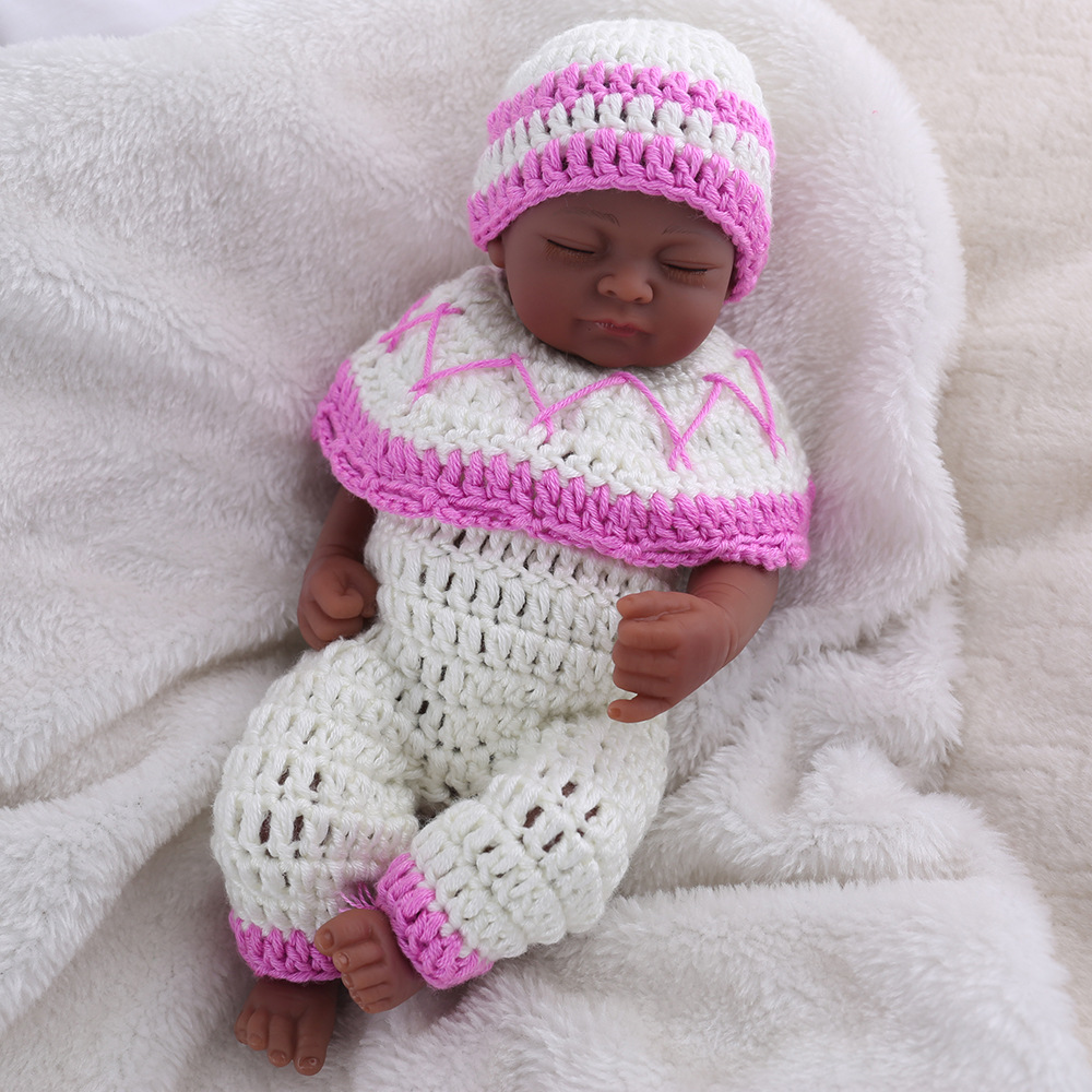 LONSUN Black Skin Silicone Reborn Dolls Hobbies Stuffed Toys Accessories Dolls Bedtime Early Education Girl Toys Christmas Gift