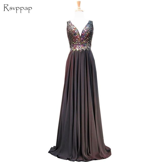 1b733cebc5e5 Long Sparkly Prom Dresses 2018 Elegant V-neck Sleeveless Crystals  Rhinestone African Black Chiffon Prom Dress