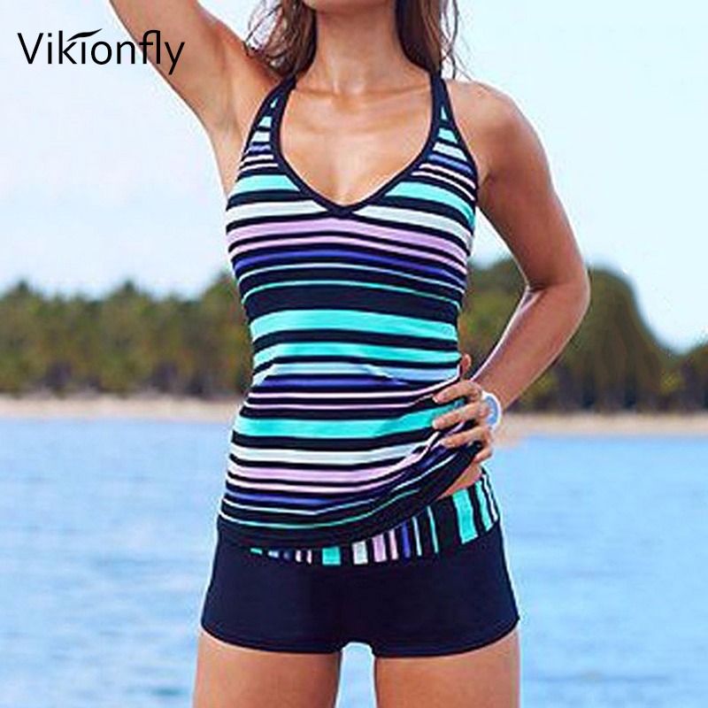 Vikionfly 5XL Striped Large Size Swimwear Women Vintage Two Piece Tankini Swimsuit Bikini Set Padded Push Up Bathing Suit Plus