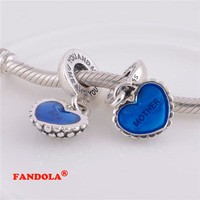 DIY Beads Fits Pandora Bracelet Mother & Son Blue Heart Screw Dangle Charms Bead Authentic 925 Sterling Silver Jewelry LW178