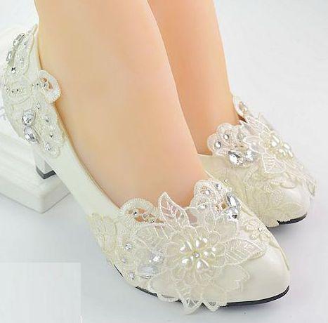 Middle 4.5cm heel woman wedding pumps shoes color ivory PR1848 handmade lace pearls rhinestones style 2017 new bridal bride shoe видеоигра для ps4 медиа saints row iv re elected
