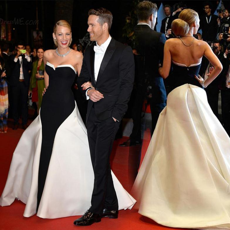 Blake lively red carpet dresses a line satin strapless black and white celebrity evening gown in - Black and white red carpet dresses ...